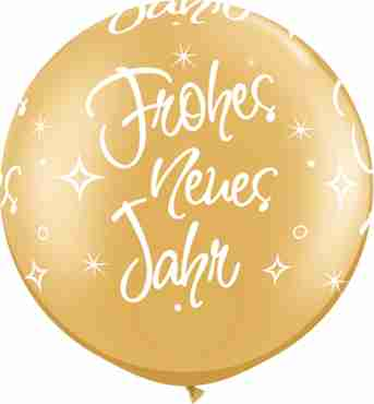 Frohe Neues Jahr Metallic Gold Latex Round 30in/75cm