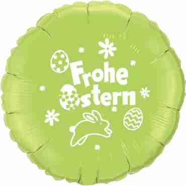 frohe ostern lime green w/white ink foil round 18in/45cm