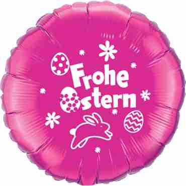 frohe ostern magenta w/white ink foil round 18in/45cm