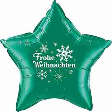 frohe weihnachten emerald green w/white ink foil star 20in/50cm