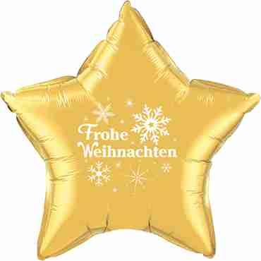 frohe weihnachten gold w/white ink foil star 20in/50cm