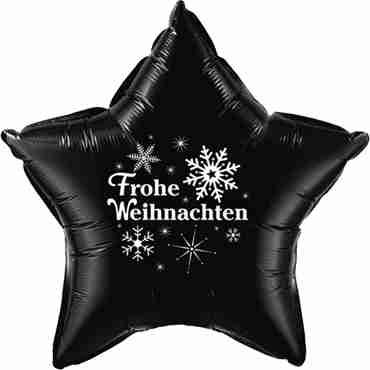 frohe weihnachten onyx black w/white ink foil star 20in/50cm