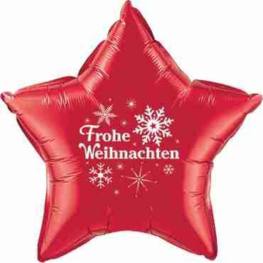 frohe weihnachten ruby red w/white ink foil star 20in/50cm