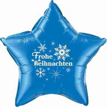 frohe weihnachten sapphire blue w/white ink foil star 20in/50cm