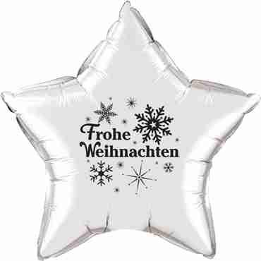 frohe weihnachten silver w/black ink foil star 20in/50cm