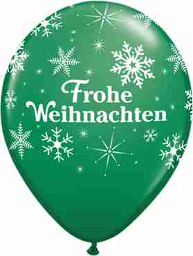 frohe weihnachten snowflakes standard green latex round 11in/27.5cm