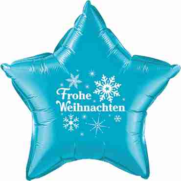 frohe weihnachten turquoise w/white ink foil star 20in/50cm
