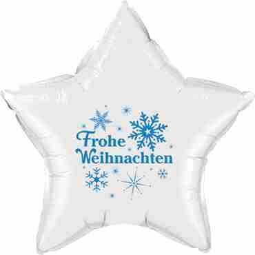 frohe weihnachten white w/blue ink foil star 20in/50cm