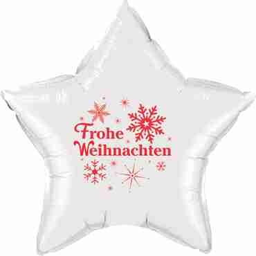 frohe weihnachten white w/red ink foil star 20in/50cm
