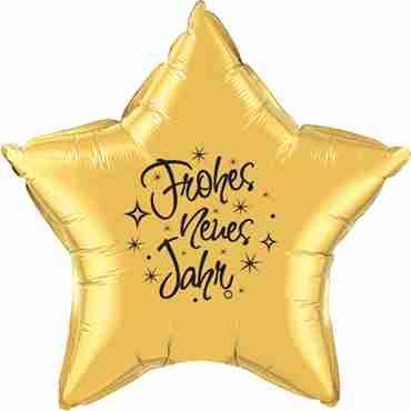 frohes neues jahr gold w/black ink foil star 20in/50cm