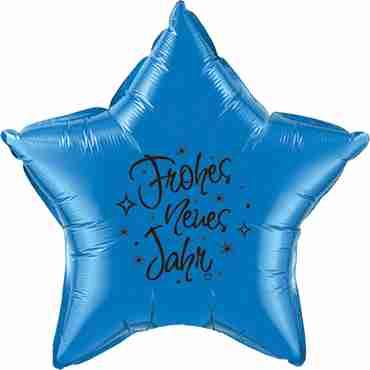 frohes neues jahr sapphire blue w/black ink foil star 20in/50cm