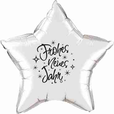 frohes neues jahr silver w/black ink foil star 20in/50cm