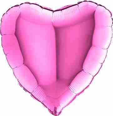 Fuchsia Foil Heart 36in/90cm