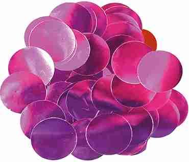 Fuchsia Metallic Round Foil Confetti 25mm 14g