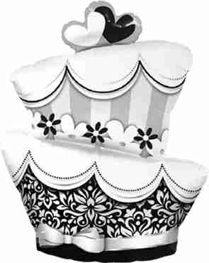 fun and fabulous wedding cake foil shape 42in/107cm