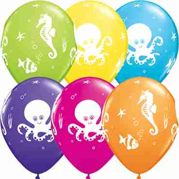 Fun Sea Creatures Tropical Assortment Latex Round 11in/27.5cm