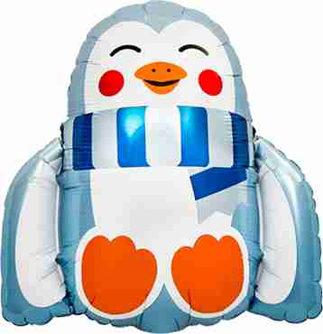 fuzzy penguin foil shape 14in/36cm