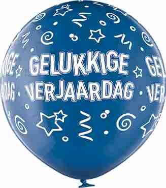 Gelukkige Verjaardag Crystal Blue (Transparent) Latex Round 24in/60cm