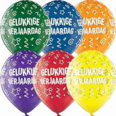 Gelukkige Verjaardag Crystal Green, Crystal Yellow, Crystal Orange, Crystal Royal Red, Crystal Quartz Purple and Crystal Blue Assortment (Transparent) Latex Round 12in/30cm