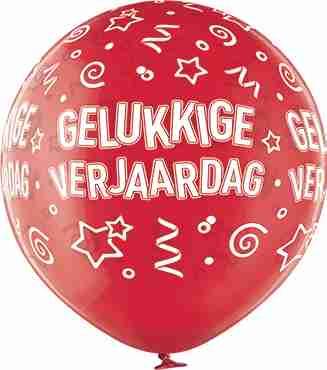 Gelukkige Verjaardag Crystal Red (Transparent) Latex Round 24in/60cm