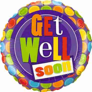 Get Well Dot Patterns Foil Round 18in/45cm