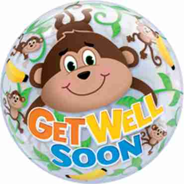 Get Well Monkeys Single Bubble 22in/55cm
