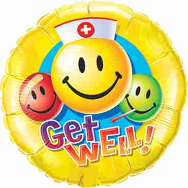 Get Well Smiley Faces Foil Round 18in/45cm