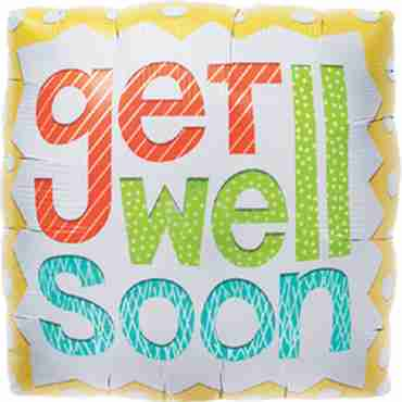 Get Well Soon Foil Square 18in/45cm