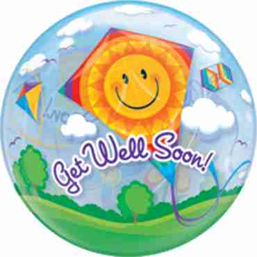 Get Well Soon! Kites Single Bubble 22in/55cm