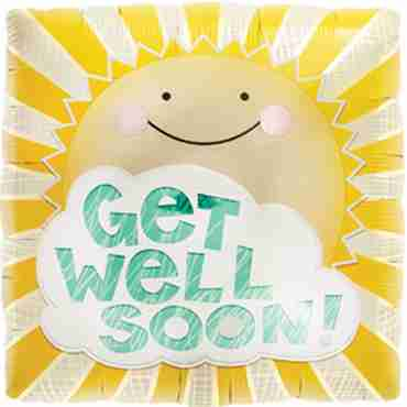 Get Well Sunshine Foil Square 18in/45cm