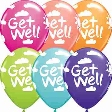 Get Well Sunshine Retail Assortment Latex Round 11in/27.5cm
