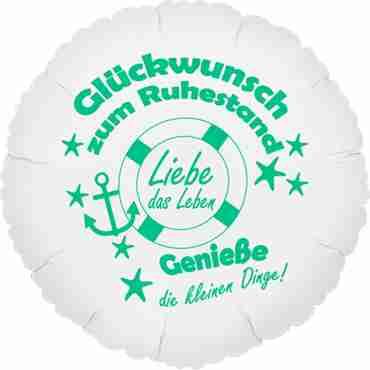 glückwunsch zum ruhestand - genieße die kleinen dinge! metallic white w/green ink foil round 18in/45cm