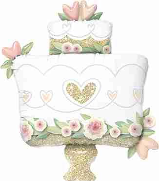 Glitter Gold Wedding Cake Foil Shape 41in/104cm