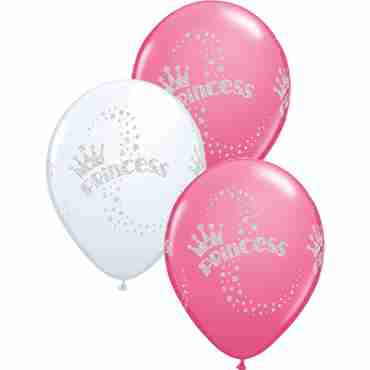 Glitter Princess Standard White and Fashion Rose Assortment Latex Round 11in/27.5cm
