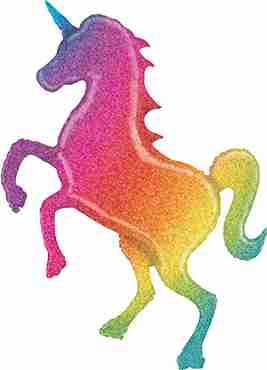 Glitter Rainbow Unicorn Holographic Foil Shape 54in/137cm