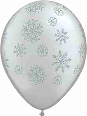 Glitter Snowflakes Silver Latex Round 11in/27.5cm