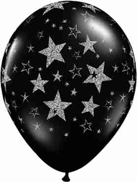 Glitter Stars and Stars Fashion Onyx Black Latex Round 11in/27.5cm