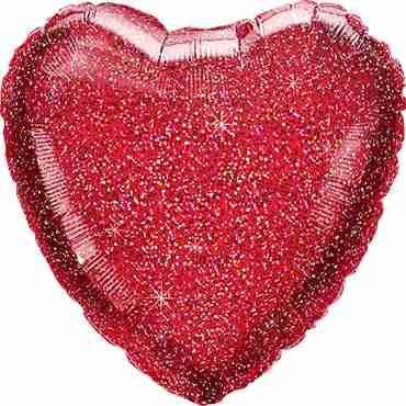 Glittergraphic Red Foil Heart 18in/45cm