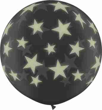 Glow Stars Crystal Diamond Clear (Transparent) Latex Round 36in/90cm