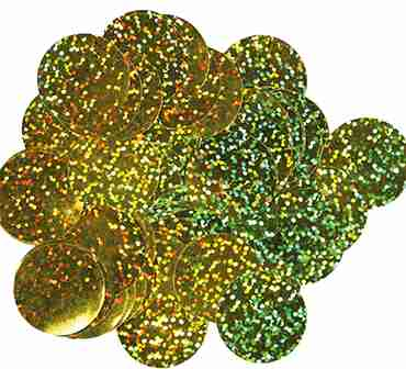 Gold Holographic Metallic Round Foil Confetti 25mm 50g