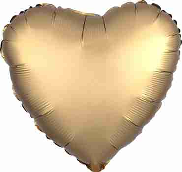 Gold Satin Luxe Foil Heart 17in/43cm