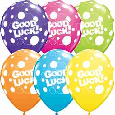 Good Luck Dots Tropical Assortment Latex Round 11in/27.5cm