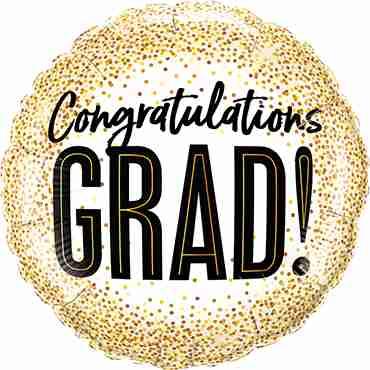 Grad Gold Glitter Dots Foil Round 18in/45cm