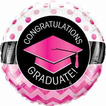 Graduate Pink Chevron Dots Foil Round 18in/45cm