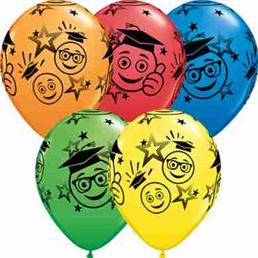 Graduation Smileys Standard Dark Blue, Standard Red, Standard Yellow, Standard Orange and Fashion Spring Green Assortment Latex Round 11in/27.5cm