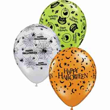 Halloween Assortment Crystal Diamond Clear (Transparent), Crystal Mandarin Orange (Transparent) and Fashion Lime Green Assortment Latex Round 11in/27.5cm