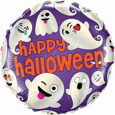 Halloween Emoticon Ghosts Foil Round 18in/45cm