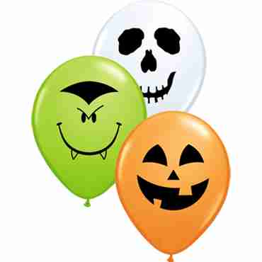Halloween Face Assortment Standard Orange, Standard White and Fashion Lime Green Assortment Latex Round 5in/12.5cm