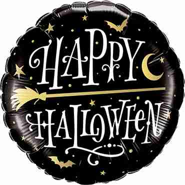 Halloween Golden Broomstick Foil Round 18in/45cm