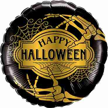 Halloween Golden Skeleton Foil Round 18in/45cm